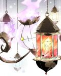 candle chain chandelure commentary_request fire flame gen_5_pokemon highres hook lantern looking_at_viewer naoto_(shion) no_humans peeking_out pokemon pokemon_(creature) purple_fire solo yellow_eyes