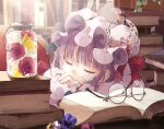 1girl bangs blue_bow blunt_bangs book bookshelf bow capelet commentary_request crescent crescent_hat_ornament crescent_pin double_bun flower glasses hair_bow hat hat_ornament hat_ribbon highres long_hair mob_cap multi-tied_hair patchouli_knowledge purple_bow purple_capelet purple_hair purple_headwear red_bow red_ribbon ribbon sleeping touhou toutenkou very_long_hair violet_eyes
