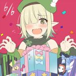 1girl aoi_(princess_connect!) bangs bare_shoulders beret birthday blush box cape clover detached_sleeves elf feathers flustered gift gift_bag gift_box green_eyes green_hair hair_over_one_eye hat horosuke one_eye_covered pink_background pointy_ears princess_connect! short_hair simple_background solo
