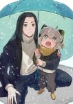 +_+ 2boys black_hair black_jacket black_pants boots child gihuta_hiroshi grey_eyes highres jacket long_hair long_sleeves luoxiaohei multiple_boys open_mouth pants scarf short_hair smile snow sweater the_legend_of_luo_xiaohei white_hair white_sweater winter_clothes wuxian_(the_legend_of_luoxiaohei) yellow_footwear yellow_scarf