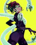 1girl black_bodysuit bodysuit doctor_octopus from_side goggles hair_behind_ear head_tilt highres looking_at_viewer marvel mechanical_tentacles olivia_octavius open_hand parted_lips redhead smile solo spider-man:_into_the_spider-verse spider-man_(series) sushi_pizza_rrr tied_hair yellow_eyes
