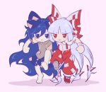 2girls arm_around_shoulder bags_under_eyes bangs bare_shoulders blue_bow blue_eyes blue_hair blue_skirt blunt_bangs bow chibi commentary_request footwear_bow fujiwara_no_mokou grey_hair grey_hoodie guuchama hair_bow hood hoodie long_hair multiple_girls pants pink_background red_bow red_eyes red_footwear red_pants shirt shoes short_sleeves simple_background skirt suspenders torn_clothes torn_sleeves touhou trait_connection very_long_hair walking white_bow white_shirt wrist_cuffs yorigami_shion