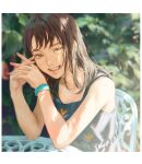 1girl aqua_nails blurry border brown_eyes brown_hair chair depth_of_field earrings hands_together highres interlocked_fingers jewelry medium_hair nail_polish open_mouth original shade sitting smile solo sunlight table tunapon01 watch watch white_border