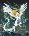blue_eyes fiona_hsieh gen_2_pokemon glowing glowing_eyes legendary_pokemon lugia ocean pokemon pokemon_(game) pokemon_gsc sash seal_impression signature sun tail watermark waving wings