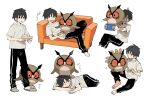 1boy bangs barefoot bird black_hair black_pants closed_eyes commentary_request couch gen_2_pokemon grey_footwear holding hoothoot male_focus multiple_views newo_(shinra-p) on_lap pants pokemon pokemon_(creature) pokemon_on_lap shirt short_hair short_sleeves simple_background slippers socks standing sweatdrop t-shirt toes translation_request white_background