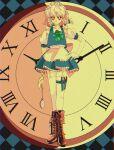 1990s_(style) 1girl apron blue_dress blue_vest bow braid brown_footwear dress frilled_apron frilled_skirt frills green_bow hair_bow hanadi_detazo hand_on_hip highres izayoi_sakuya knife maid maid_apron maid_headdress plaid plaid_background pocket_watch puffy_short_sleeves puffy_sleeves red_eyes retro_artstyle ribbon roman_numeral short_hair short_sleeves silver_hair skirt solo touhou twin_braids vest watch weapon