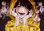 1girl 310(mito)_(meatgaugau) blood blush brown_eyes brown_hair doll hanging heart heart-shaped_pupils looking_at_viewer open_mouth original raincoat smile symbol-shaped_pupils teeth yandere yandere_trance