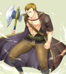 1boy abs axe bandages belt blonde_hair boots brown_eyes fire_emblem fire_emblem:_the_blazing_blade full_body highres holding holding_axe holding_weapon linus_(fire_emblem) male_focus manly navel open_clothes open_shirt pectorals shougayaki_(kabayaki_3) teeth transparent_background weapon
