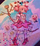 1girl abstract abstract_background ankle_ribbon arms_at_sides bajinns blood blood_splatter blood_stain bloody_clothes bow bow_(weapon) bubble_skirt buttons center_frills choker colorful cross-laced_footwear dot_nose dual_persona facing_away flat_chest flower frilled_legwear frilled_skirt frills full_body gloves grey_outline hair_ribbon happy highres holding holding_bow_(weapon) holding_weapon kaname_madoka kriemhild_gretchen leaf legs_apart light_blush madoka_runes mahou_shoujo_madoka_magica marker_(medium) multicolored multicolored_background outline outstretched_arms paper_cutout_(medium) photo_(medium) pink_bow pink_flower pink_footwear pink_hair pink_ribbon pink_rose polka_dot polka_dot_background red_flower red_rose ribbon ribbon_choker rose skirt smile socks solid_oval_eyes solo soul_gem standing teeth tiptoes traditional_media twintails unconventional_media waist_bow weapon white_gloves white_legwear white_outline white_skirt witch_(madoka_magica) yellow_flower yellow_rose