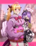 2girls absurdres ahoge alternate_costume backpack bag beret bibi_(tokoyami_towa) black_headwear blonde_hair blush breasts dragon_horns dragon_tail eyebrows_behind_hair fang fang_out fashion green_eyes hair_behind_ear halo hat highres holding holding_stuffed_toy hololive hood hoodie horns kiryu_coco kiryu_coco_(dragon) large_breasts mask mcm_(brand) mouth_mask multicolored_hair multiple_girls official_alternate_costume orange_skirt pink_bag pointy_ears purple_hair purple_hoodie side_bun skin_fang skirt sleeves_past_fingers sleeves_past_wrists streaked_hair stuffed_toy tail tokoyami_towa twintails virtual_youtuber yo_na