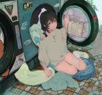 1girl bangs black_hair blue_shorts brown_eyes full_body grey_shirt highres laundromat looking_at_viewer original qooo003 shirt short_hair shorts sitting solo tile_floor tiles