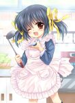 1girl apron blazer blue_hair blue_jacket brown_eyes clannad collared_shirt commentary_request cowboy_shot dress_shirt frilled_apron frills hair_ribbon highres hinata_nonoka jacket kitchen ladle long_hair looking_at_viewer one_eye_closed ribbon saucer shirt smile solo sunohara_mei twintails white_apron white_shirt yellow_ribbon