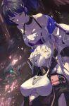 2girls absurdres bangs black_hair black_jacket blue_eyes breasts closed_mouth covered_mouth flower hair_between_eyes highres honkai_(series) honkai_impact_3rd jacket kiana_kaslana kiana_kaslana_(void_drifter) long_hair long_sleeves looking_down multiple_girls nabi_(ybbvgvgvg) outdoors ponytail raiden_mei raiden_mei_(striker_fulminata) sad shadow shirt sleeping white_hair white_jacket white_shirt yuri