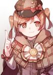 1girl absurdres aijou_karen bangs blush bow bright_pupils brown_cape brown_eyes brown_hair brown_headwear cape closed_mouth collared_shirt commentary cosplay deerstalker detective goe_(g-o-e) gradient gradient_background grey_background hand_on_hip hand_up hat hat_bow highres hood hood_down hooded_cape index_finger_raised long_sleeves looking_at_viewer official_alternate_costume plaid plaid_cape red_bow sherlock_holmes sherlock_holmes_(cosplay) shirt short_hair shoujo_kageki_revue_starlight shoujo_kageki_revue_starlight_-re_live- smile solo suspenders swept_bangs the_adventures_of_sherlock_holmes two_side_up upper_body white_background white_pupils white_shirt