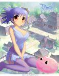 1girl blue_hair blush breasts highres japanese_clothes large_breasts ninja ninja_(ragnarok_online) poring ragnarok_online red_eyes sipmo solo thigh-highs
