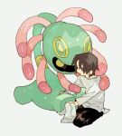 1boy bangs brown_hair brown_pants cleaning commentary_request cradily gen_3_pokemon grey_eyes holding holding_cloth holding_pokemon long_sleeves male_focus newo_(shinra-p) open_mouth pants pokemon pokemon_(creature) shiny shirt short_hair simple_background sitting socks white_background