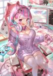 1girl absurdres anchor_symbol animal_ears animal_print apex_legends aqua_nails armrest blue_hair book bottomless breasts cable can cat_ears cat_hair_ornament cat_paws cat_print chair commentary_request computer controller desk desktop energy_drink eyebrows_visible_through_hair figure firefox game_controller gamepad gaming_chair hair_ornament headphones headphones_around_neck heart heart_print highres holding holding_controller hololive huge_filesize keyboard_(computer) kirito large_breasts long_hair looking_at_viewer minato_aqua monitor multicolored_hair nail_polish neko_(minato_aqua) nintendo_switch nintendo_switch_pro_controller paws purple_hair purple_sweater red_bull rin31153336 sitting skindentation solo squid streaked_hair sweater sword_art_online table thigh-highs two-tone_hair violet_eyes virtual_youtuber white_legwear window youtube yuuki_(sao) zettai_ryouiki