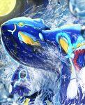 absurdres blurry commentary_request from_below gen_3_pokemon highres huge_filesize kyogre legendary_pokemon looking_down moon night no_humans outdoors pokemon pokemon_(creature) primal_kyogre ririri_(user_rkrv7838) sky solo star_(sky) water water_drop waves