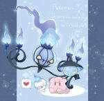 chandelure character_doll clefairy closed_eyes commentary_request copyright_name dated fire flame gen_1_pokemon gen_5_pokemon happy heart lampent litwick open_mouth pokemon spoken_heart tongue twitter_username yellow_eyes yuki_min_30 |d