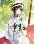 1girl aqua_eyes black_gloves black_hair flower_ornament gloves hair_up hand_up hat highres japanese_clothes kimono kurosawa_dia light_blush looking_at_viewer love_live! love_live!_sunshine!! mole mole_under_mouth naarann parted_lips sitting smile solo striped striped_kimono white_kimono wide_sleeves yellow_headwear