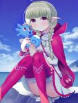 1girl braid closed_mouth commission fire_emblem fire_emblem_awakening gen_1_pokemon green_hair highres holding holding_pokemon horsea looking_at_viewer mikoko1 nah_(fire_emblem) ocean outdoors pointy_ears pokemon pokemon_(creature) pokemon_(game) seahorse skeb_commission thigh-highs twin_braids violet_eyes