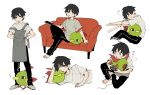 1boy ? bangs barefoot black_hair black_pants commentary_request controller couch gen_2_pokemon grey_apron grey_footwear holding holding_controller holding_remote_control lying male_focus multiple_views natu newo_(shinra-p) on_side one_eye_closed pants playing_games pokemon pokemon_(creature) shirt short_hair short_sleeves simple_background sitting sleeping slippers standing sweatdrop t-shirt toes white_background