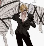 2boys bandages beard blonde_hair carrying cigarette closed_mouth collarbone facial_hair formal gloves head_out_of_frame highres holding holding_cigarette jacket jinnnnai long_sleeves male_focus multiple_boys one_piece over_shoulder pants roronoa_zoro sanji short_hair simple_background smoke solo_focus spoilers standing suit suit_jacket sunglasses white_background