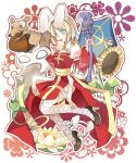 1girl acorn animal_ears apple archbishop_(ragnarok_online) bangs black_footwear blonde_hair blue_eyes cleavage_cutout clothing_cutout commentary crossover dog_ears dress english_commentary eyebrows_visible_through_hair fake_animal_ears fishnet_legwear fishnets flower food fruit full_body green_apple high_heels holding holding_staff ice_age_(movie) juliet_sleeves long_hair long_sleeves looking_at_viewer mask open_mouth puffy_sleeves rabbit_ears ragnarok_online red_dress scrat_(ice_age) shield siolfur skull squirrel staff star_(symbol) star_in_eye sunflower symbol_in_eye thigh-highs toast transparent_background two-tone_dress white_dress white_flower white_legwear yellow_flower
