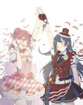 2girls absurdres asymmetrical_clothes back_bow bangs black_eyes black_hair blunt_bangs bow bowtie braid braided_bun buttons chase!_(love_live!) collared_shirt double-breasted dress earrings flower frilled_dress frilled_skirt frills gloves grey_eyes hair_ornament half_gloves half_updo hat heart heart_earrings highres jewelry layered_skirt long_hair love_live! love_live!_nijigasaki_high_school_idol_club medium_hair mini_hat mini_top_hat miniskirt multiple_girls necktie one_side_up orange_hair pink_bow pink_dress pink_flower pink_hair pink_rose pleated_skirt print_sleeves puffy_short_sleeves puffy_sleeves purecyan purple_neckwear red_gloves red_vest rose shirt short_sleeves side_bun skirt striped striped_neckwear suspender_skirt suspenders swept_bangs top_hat uehara_ayumu vest white_gloves yellow_eyes yume_e_no_ippo yuuki_setsuna_(love_live!)