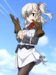 1girl adjusting_clothes adjusting_gloves bangs biting black_legwear blue_sky closed_mouth clouds cloudy_sky commentary_request condensation_trail cowboy_shot cravat day dress eyes_visible_through_hair glove_biting gloves gloves_removed hair_over_one_eye hair_ribbon holster komagome_azuzu long_sleeves looking_at_viewer medium_hair one_side_up oosaka_kanagawa outdoors pantyhose partial_commentary red_eyes red_neckwear red_ribbon ribbon senyoku_no_sigrdrifa short_dress silver_hair sky smile solo standing white_dress wind