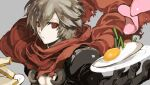 1boy absurdres armor assassin_cross_(ragnarok_online) bangs black_gloves black_shirt bread closed_mouth commentary_request eyebrows_visible_through_hair food fried_egg gloves grey_hair hair_between_eyes highres holding holding_plate jakushou_archer looking_at_viewer male_focus meat open_clothes open_shirt pauldrons plate ragnarok_online red_eyes red_scarf scarf shirt short_hair shoulder_armor shy_(ragnarok_online) solo torn_scarf upper_body