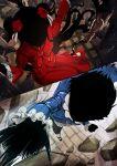 1boy 1girl asksj black_hair black_pants black_skin blue_coat cage chain coat colored_skin dress flower hair_flower hair_ornament highres john_(shadows_house) kate_(shadows_house) long_hair pants red_dress red_footwear rock rose shadows_house thorns two_side_up white_legwear