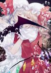 2girls arms_around_neck bat_wings black_background blonde_hair blue_hair bow closed_eyes crystal flandre_scarlet from_side hand_up hat hat_bow highres implied_kiss katai_(nekoneko0720) looking_at_viewer mob_cap multiple_girls red_bow red_eyes red_neckwear red_skirt red_vest remilia_scarlet shirt short_sleeves siblings side_ponytail sisters skirt touhou upper_body vest white_headwear white_shirt white_skirt wings yuri