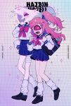 1boy 1girl angel_dust bag bandages cherri_bomb cyclops demon_boy demon_girl from_side hazbin_hotel highres holding long_hair looking_at_viewer neg_50asu one-eyed pink_hair ponytail ribbon single_eye skirt uniform