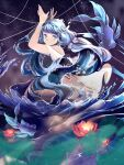 1girl arms_up bangs blue_eyes blue_hair blurry blurry_foreground dress fish kotokuwu lily_pad long_hair looking_at_viewer night night_sky original outdoors sky smile string water