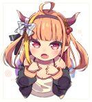 1girl ahoge alternate_costume alternate_hairstyle bangs bare_shoulders black_hairband black_jacket black_ribbon blonde_hair blunt_bangs blush bow camisole child collarbone diagonal-striped_bow dragon_girl dragon_horns dragon_tail fang flat_chest from_above hair_bobbles hair_ornament hair_ribbon hairband hololive horn_bow horns jacket kiryu_coco long_hair long_sleeves looking_at_viewer looking_up multicolored_hair off_shoulder okota_mikan open_clothes open_jacket open_mouth orange_hair pointy_ears red_eyes ribbon sidelocks simple_background skin_fang solo spaghetti_strap streaked_hair striped striped_bow tail twintails two_side_up upper_body virtual_youtuber white_background white_camisole younger