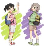 2girls :d ;) arm_up backpack bag bangs bare_shoulders black_hair blue_bag blush brown_legwear brown_shorts camisole commentary eyebrows_visible_through_hair full_body green_eyes green_footwear green_jacket grey_hair grey_legwear grin hair_ornament hairclip happy highres holding_strap jacket kuraue_hinata long_sleeves looking_at_viewer looking_back loose_socks meis_(terameisu) multicolored multicolored_background multiple_girls one_eye_closed open_mouth pink_camisole red_footwear shoes short_hair short_twintails shorts smile sneakers standing twintails v violet_eyes white_shorts yama_no_susume yellow_bag yukimura_aoi