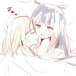 2girls blonde_hair closed_eyes desutruction drooling fang highres hololive hololive_english light_blush lying multiple_girls ninomae_ina'nis on_back on_side open_mouth parted_lips pointy_ears purple_hair sleeping tentacle_hair virtual_youtuber watson_amelia yuri zzz