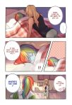 ! !! ... 2girls ? applejack apron bare_shoulders blonde_hair closed_eyes commentary_request dcon_34 english_text eyebrows_visible_through_hair highres image_sample kitchen light_blush lying multicolored_hair multiple_girls my_little_pony on_side pillow rainbow_dash sink speech_bubble twitter_sample yuri