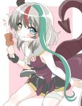 1girl aqua_hair asymmetrical_hair bandages bare_shoulders blush bone boned_meat border chewing chimera closed_mouth cowboy_shot dragon_tail eating eyebrows_visible_through_hair fang food from_above grey_hair heterochromia highres holding holding_food horns looking_at_viewer meat multicolored_hair outside_border partially_colored pleated_skirt redhead rose_(sentouin_hakenshimasu!) sentouin_hakenshimasu! sincos single_horn single_wrist_cuff sitting skin_fang skirt sleeveless solo streaked_hair tail wavy_mouth white_border wrist_cuffs yellow_eyes