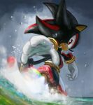 1boy animal_nose bracelet closed_mouth clouds cloudy_sky english_commentary furry gloves highres jewelry looking_back male_focus red_eyes running rythayze shadow_the_hedgehog sky solo sonic_(series) water white_gloves