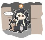 1girl arknights bangs black_cloak box brown_eyes cameo cardboard_box character_doll chibi cloak commentary_request crying doctor_(arknights) english_text gameplay_mechanics hair_between_eyes holding holding_staff hood horns korean_commentary leg_hug long_hair omo_(h98013114) shaded_face shining_(arknights) sidelocks silver_hair speech_bubble staff stuffed_animal stuffed_bunny stuffed_toy