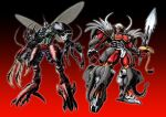 antennae asymmetrical_armor asymmetrical_arms beast_wars beast_wars_ii beetle blue_eyes bug cicada claws clenched_hand extra_eyes friends gattai glowing glowing_eyes green_eyes head_tilt highres holding holding_sword holding_weapon insect insect_wings lobster looking_at_viewer magnaboss maximal mecha no_humans oohara_tetsuya orange_eyes organic rhinoceros_beetle science_fiction sharp_teeth signature solo sword teeth transformers tripredacus tusks weapon white_background wings