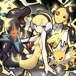 1girl ampharos arm_support bangs bare_shoulders blonde_hair blue_eyes breasts dress electricity elesa_(pokemon) gen_1_pokemon gen_2_pokemon gen_4_pokemon gen_5_pokemon gym_leader headphones highres jolteon leaning_back looking_at_viewer mi-ko_(meeco35) pokemon pokemon_(game) pokemon_bw rotom short_dress short_hair sideboob sitting sparkle tight tight_dress yellow_dress zebstrika
