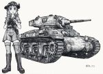 1girl ac1_sentinel ballpoint_pen_(medium) bangs belt binoculars blunt_bangs boots collared_shirt combat_boots commentary_request girls_und_panzer greyscale ground_vehicle highres holding holding_binoculars holster koala koala_forest_(emblem) koala_forest_military_uniform looking_at_viewer medium_hair military military_vehicle monochrome motor_vehicle nspa_(spa-jcs) open_mouth partial_commentary sam_browne_belt shirt short_sleeves shorts slouch_hat solo standing tank thigh-highs traditional_media twitter_username wallaby_(girls_und_panzer) zipper