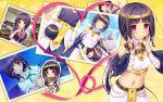 :> arisegawa_arle bandages blush boku_to_koi_suru_ponkotsu_akuma. bow breasts brown_hair collage dress hair_ribbon long_hair mummy picture_book ponytail ribbon sayori_(neko_works) sky smile sunlight