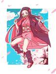 ayanobro cherry_blossoms gag gradient_hair hair_ornament highres japanese_clothes jumping kamado_nezuko kimetsu_no_yaiba kimono long_hair multicolored_hair pink_nails ribbon