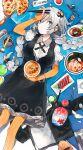 1girl airbrush black_coat black_dress blue_eyes bowl bracelet braid breasts brush chopsticks coat coat_removed commentary cowboy_shot dress egg elbow_gloves fingerless_gloves food food_focus fork fur-trimmed_coat fur_trim furrowed_brow gloves hair_ornament hamburger_steak hand_on_forehead highres hitogome holding holding_bowl holding_chopsticks jewelry kamaboko katsudon_(food) kizuna_akari light_frown long_hair looking_at_viewer lying medium_breasts narutomaki noodles on_back orange_legwear paint_tube paintbrush pepperoni pizza plate pork ramen sashimi shaved_ice short_sleeves shrimp shrimp_tempura silver_hair solo spoon striped striped_gloves striped_legwear taiyaki takoyaki tempura translated twin_braids very_long_hair vocaloid voiceroid wagashi wasabi