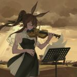 1girl amiya_(arknights) animal_ears arknights ascot black_dress bow_(instrument) bracelet brown_hair brown_sky chinese_commentary closed_eyes closed_mouth clouds cloudy_sky commentary_request cowboy_shot dress favilia frilled_ascot frills green_ribbon hair_ribbon hands_up instrument jewelry long_hair music music_stand outdoors playing_instrument ponytail rabbit_ears ribbon see-through_sleeves sheet_music short_sleeves sky solo violin white_neckwear