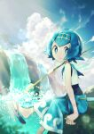1girl bangs bird blue_eyes blue_hair blue_pants closed_mouth clouds commentary day fishing_rod flip-flops gen_3_pokemon hairband highres holding holding_fishing_rod lana_(pokemon) looking_at_viewer one-piece_swimsuit outdoors palm_tree pants pokemon pokemon_(creature) pokemon_(game) pokemon_sm rindoriko sandals shirt short_hair sitting sky sleeveless smile swimsuit swimsuit_under_clothes tree trial_captain water waterfall wingull